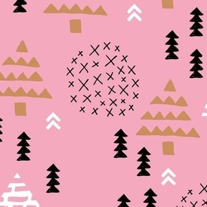 Christmas woodland trees stars and mistletoe branch hand drawn nature illustration seasonal scandinavian garden winter forest red pink XL