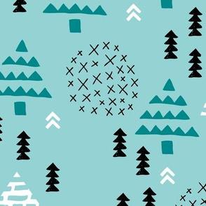 Christmas woodland trees stars and mistletoe branch hand drawn nature illustration seasonal scandinavian garden winter forest teal blue XL