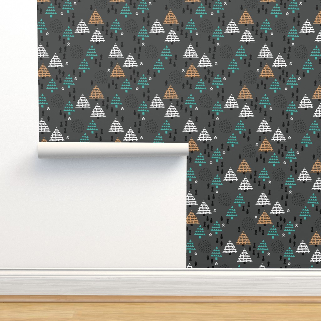 Isobar Durable Wallpaper featuring Christmas woodland trees stars and mistletoe branch hand drawn nature illustration seasonal scandinavian garden winter forest charcoal blue by littlesmilemakers