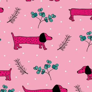 Sweet dachshund  wienerdog puppy Christmas winter wonderland puppy dog love pink girls