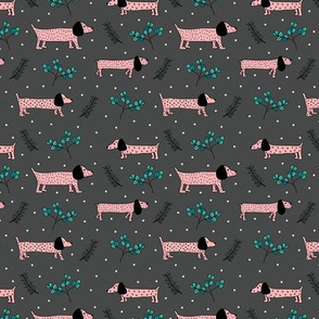 Sweet dachshund  wienerdog puppy Christmas winter wonderland puppy dog love pink girls night SMALL