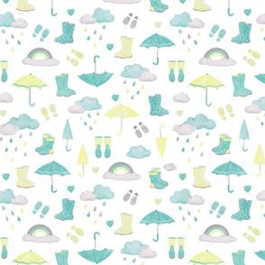 rainy days scatter pattern - aqua & yellow on white
