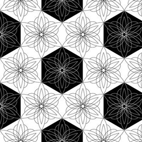 Hexagon flowers large scale black and white