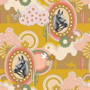 Pinto* (High Noon) || horse western 70s 1970s seventies pop art clouds stars cactus butterfly butterflies flower flowers mustard coral groovy cowboy cowgirl desert prairie