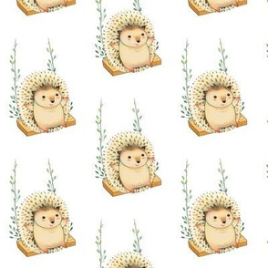 Hedgehog on a floral swing