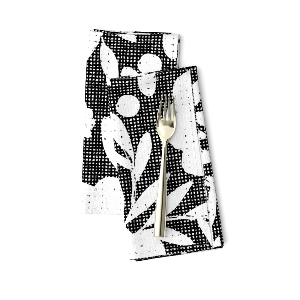Amarela Dinner Napkins featuring black and white flowers by ottomanbrim