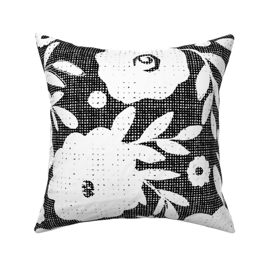 Catalan Throw Pillow featuring black and white flowers by ottomanbrim