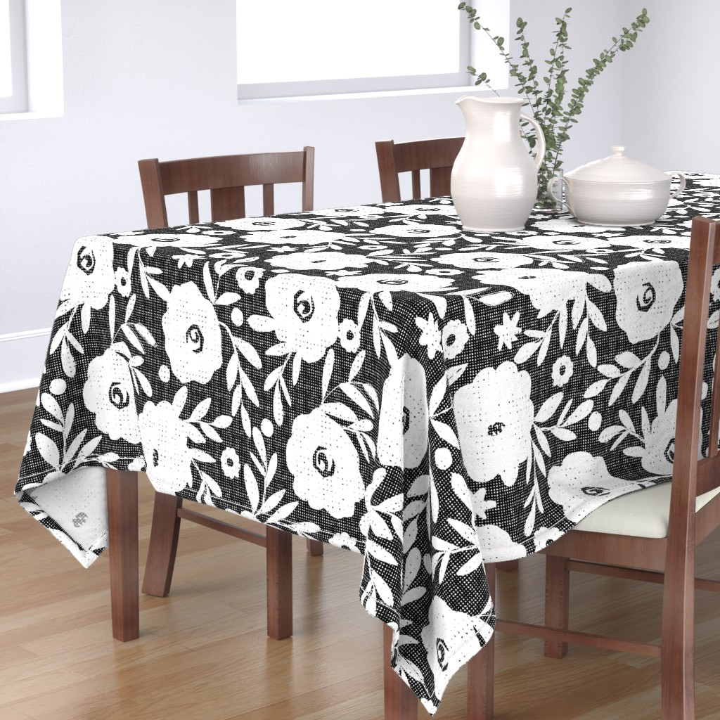 Bantam Rectangular Tablecloth featuring black and white flowers by ottomanbrim