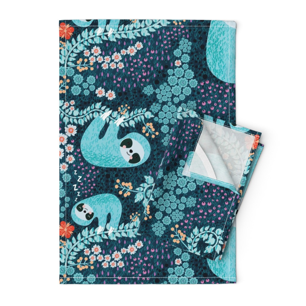 Orpington Tea Towels featuring Sloth Cloth - Fat quarter scale by bound_textiles