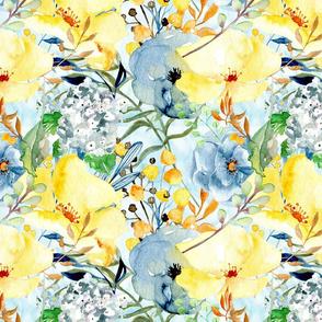 Pale Yellow & Cornflower Blues(Large)