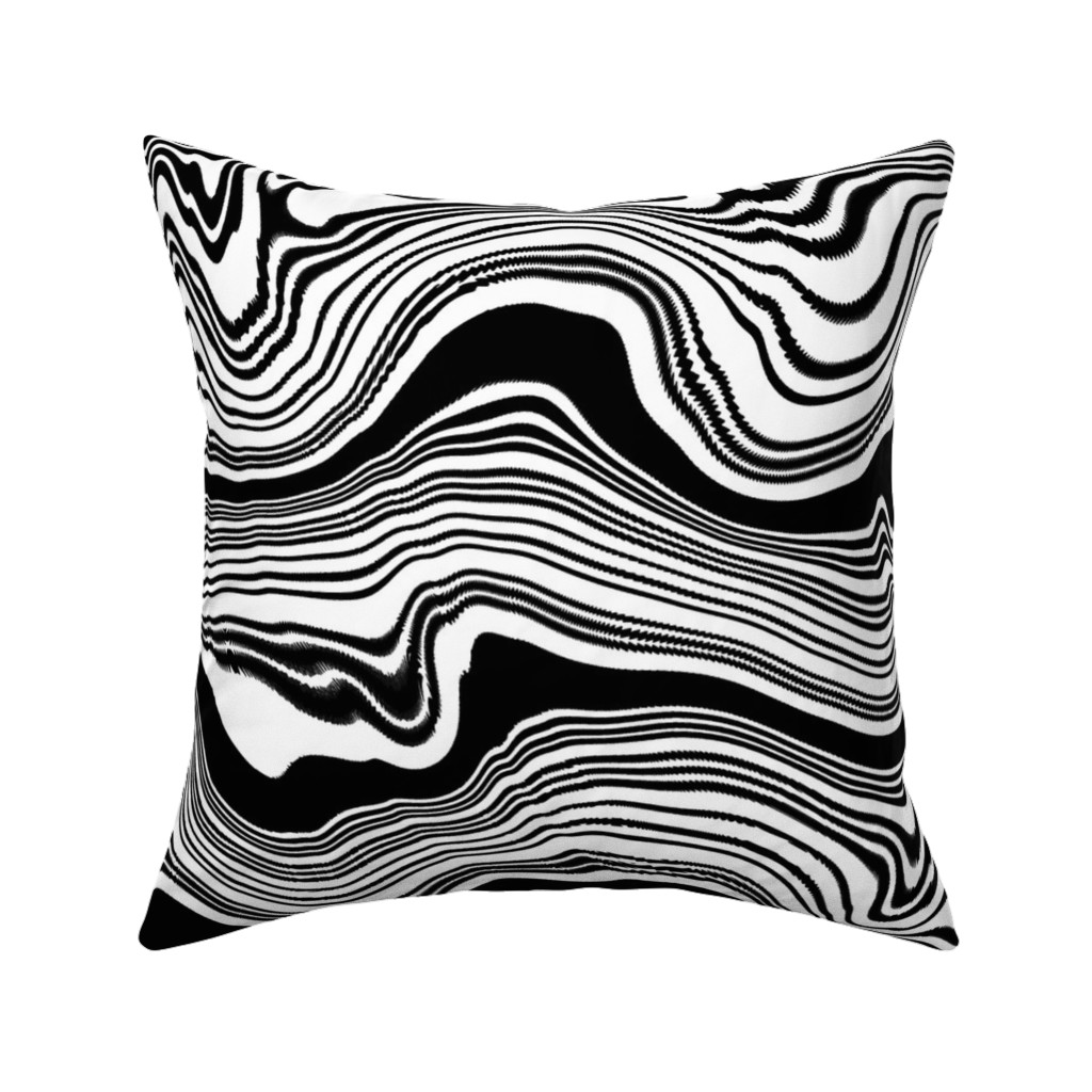 Catalan Throw Pillow featuring Vagues noir et blanche by my_muse