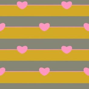 Pink heart on mustard stripe