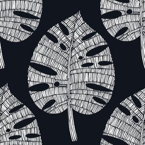 tropical leaf (white on black))