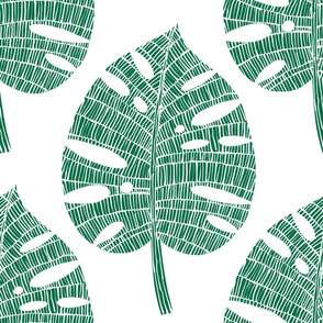 tropical leaf (green on white)