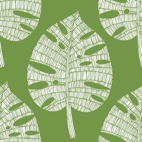 tropical leaf (white on olive)