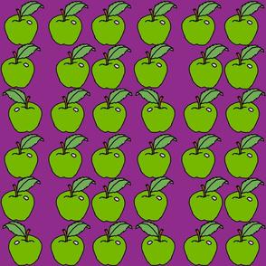 green apples on purple