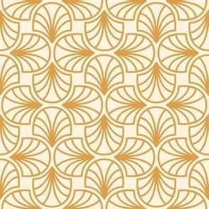 Geometric Pattern: Art Deco: Curve Outline: Gold/Cream