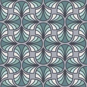 Geometric Pattern: Art Deco: Curve: Sea Foam