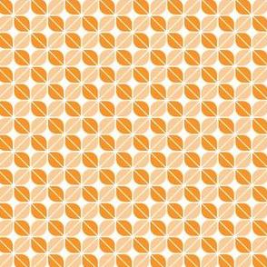 Geometric Pattern: Leaf: Orange/White