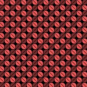 Geometric Pattern: Leaf: Red/Black