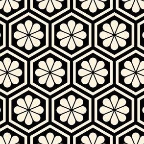 Geometric Pattern: Hexagon Flower: Cream/Black