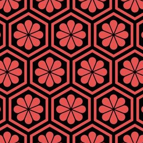 Geometric Pattern: Hexagon Flower: Red/Black