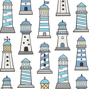 Lighthouses Nautical Sea Ocean Doodle Blue On White