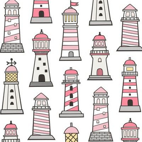 Lighthouses Nautical Sea Ocean Doodle Pink  On White