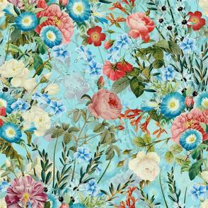 "18""  Pierre-Joseph Redouté- Antique Roses and Flowers on blue"
