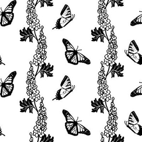 Delphiniums and Butterflies Black and White
