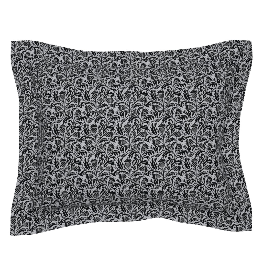 Sebright Pillow Sham featuring thistle black by cindylindgren