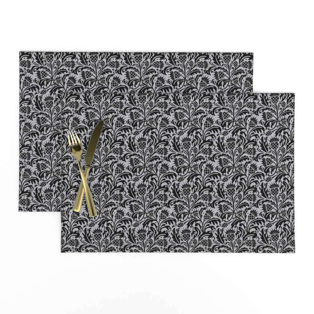Lamona Cloth Placemats featuring thistle black by cindylindgren
