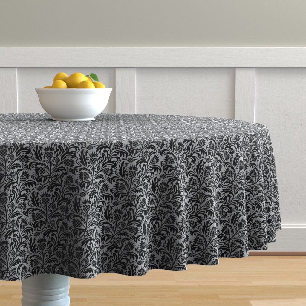 Malay Round Tablecloth featuring thistle black by cindylindgren