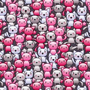 Maneko Kawaii Cats Pinks and Gray Full