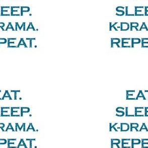 Eat Sleep K-Drama Repeat Mermaid Ocean Blue Glitter Color Text
