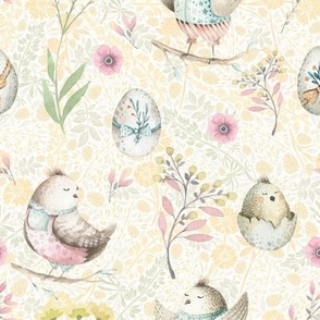 small EASTER BIRDS AND EGGS YELLOW PINK FLWRHT