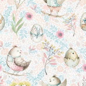 small EASTER BIRDS AND EGGS TURQUOISE PINK FLWRHT