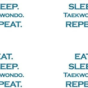 Eat Sleep Taekwondo Repeat Mermaid Ocean Blue Glitter Color Text