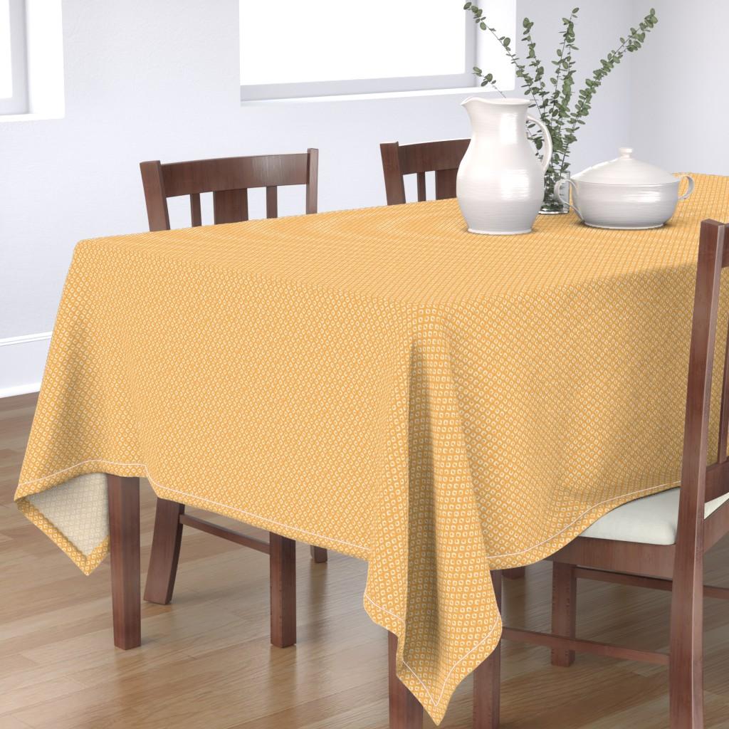 Bantam Rectangular Tablecloth featuring Rough Diamond Stamp - Yellow Reverse by autumn_musick