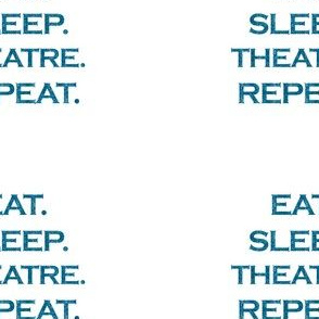 Eat Sleep Theatre Repeat Mermaid Ocean Blue Glitter Color Text