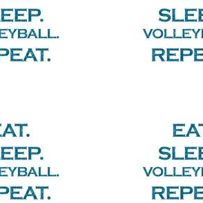 Eat Sleep Volleyball Repeat Mermaid Ocean Blue Glitter Color Text