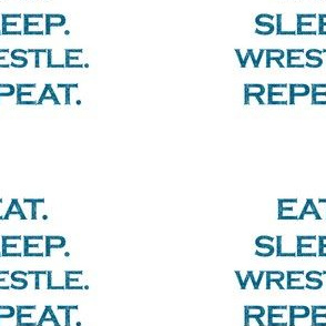 Eat Sleep Wrestle Repeat Mermaid Ocean Blue Glitter Color Text