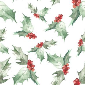 Watercolor Holly - Small