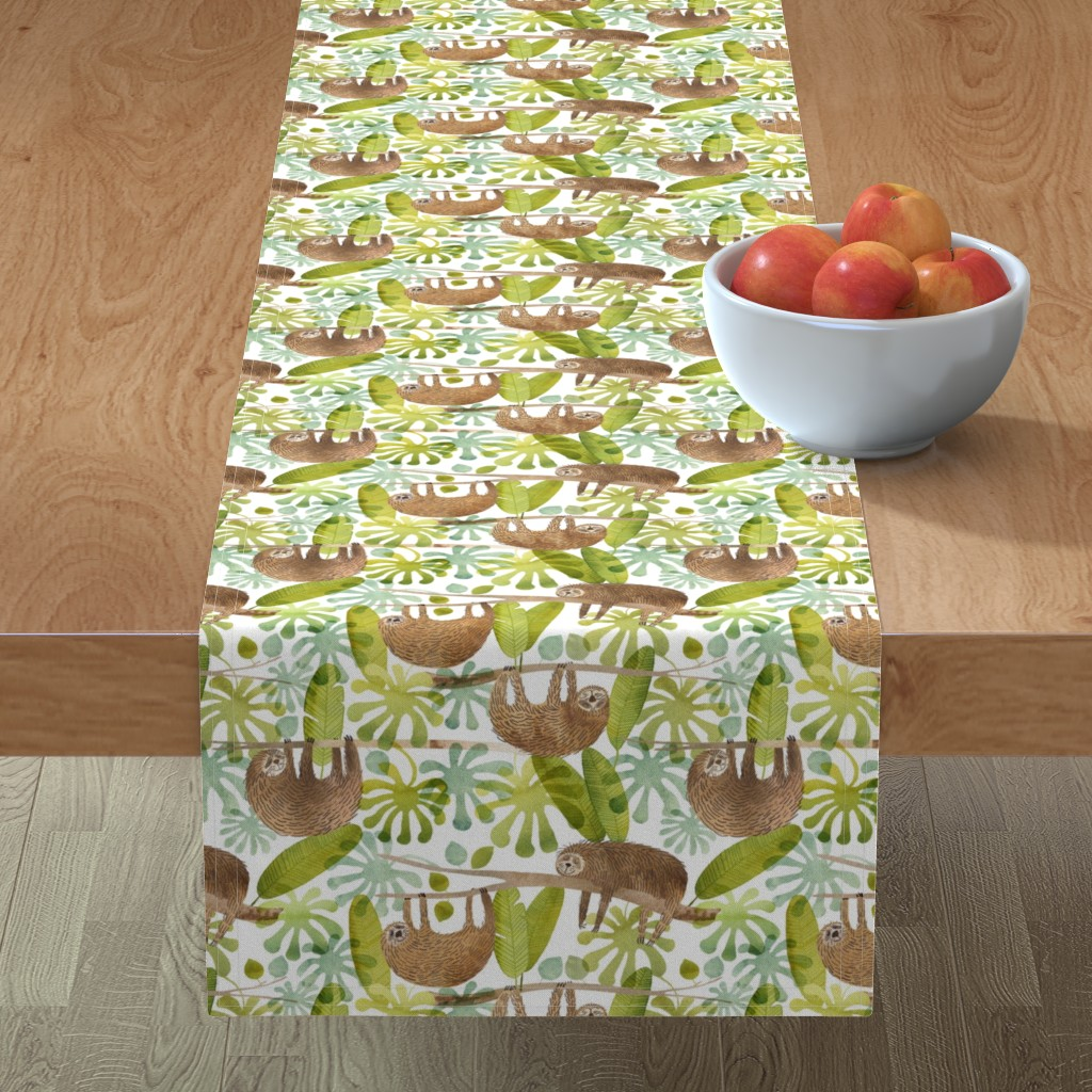 Minorca Table Runner featuring sleepy sloths in the rainforest by cat_hayward