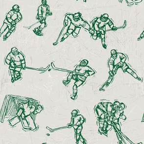 Hockey Sketch green on white