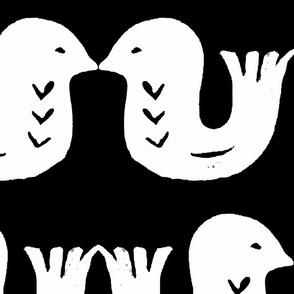 Love birds white on black small