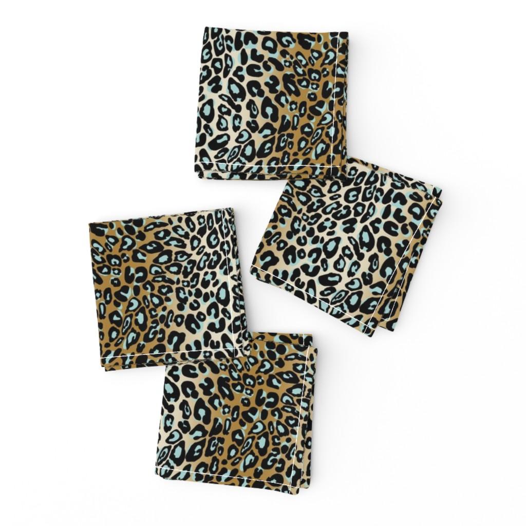 Frizzle Cocktail Napkins featuring leopard - camel/aqua/black by cinneworthington