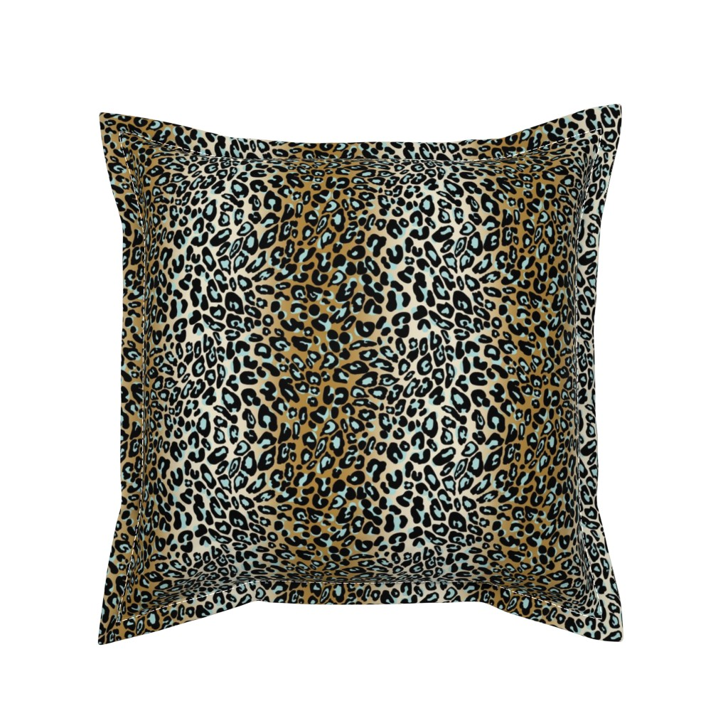 Serama Throw Pillow featuring leopard - camel/aqua/black by cinneworthington