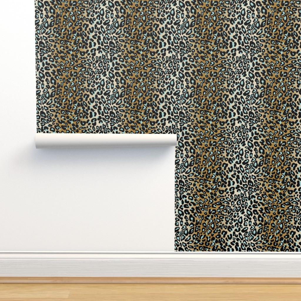 Isobar Durable Wallpaper featuring leopard - camel/aqua/black by cinneworthington