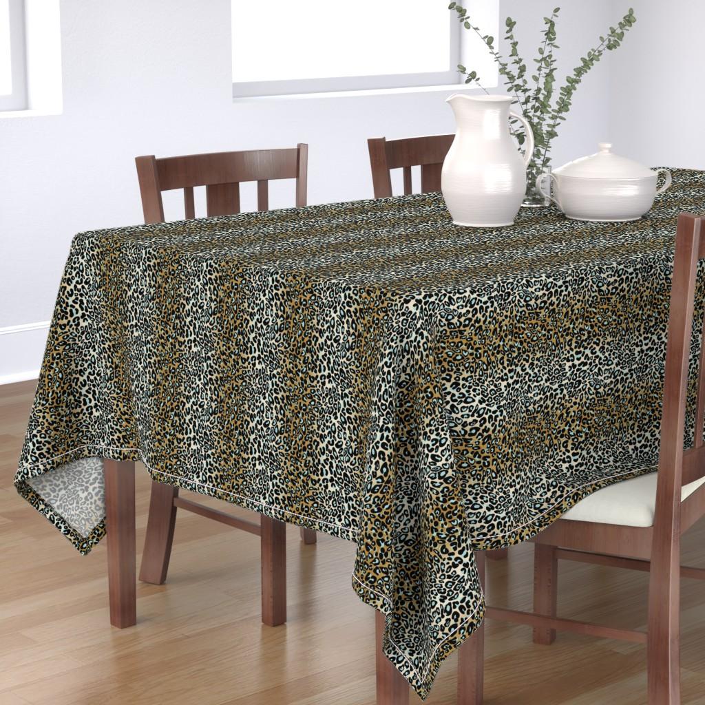 Bantam Rectangular Tablecloth featuring leopard - camel/aqua/black by cinneworthington